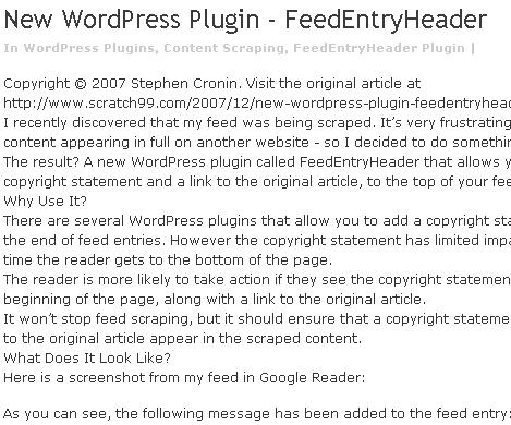 The FeedEntryHeader plugin in action