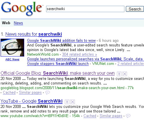 SearchWiki Breaks Numbered Google Results