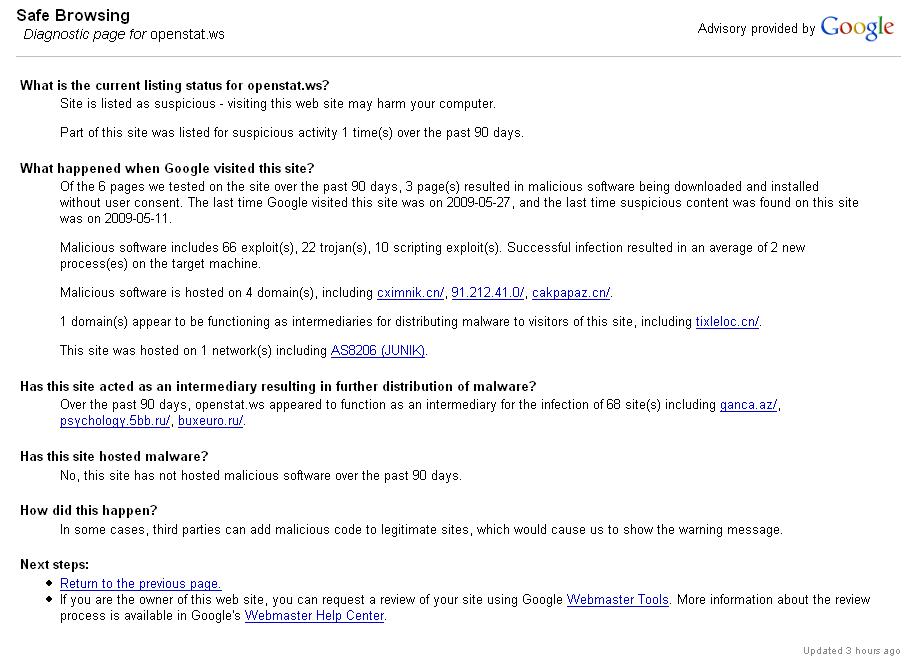 Google Safe Browsing - openstat.ws