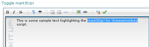 Image of markItUp! before the selected text is made bold