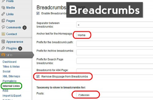 screenshot of the recommended settings for breadcrumbs in WordPress SEO
