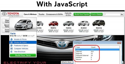 Image showing number of links on the Toyota website with JavaScript turned on