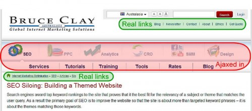 Screenshot of header of the Bruce Clay website with visual indicator of the types of links used